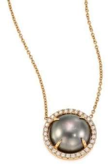 Jordan Alexander 10MM Grey Tahitian Freshwater Pearl, Diamond& 18K Yellow Gold Pendant Necklace