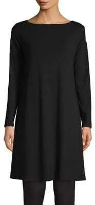 Eileen Fisher Boat Neck Long-Sleeve Knit Dress