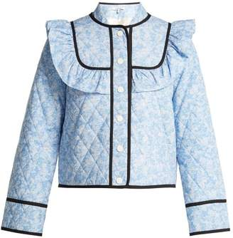 Ganni Sage Floral Print Quilted Jacket - Womens - Blue Multi