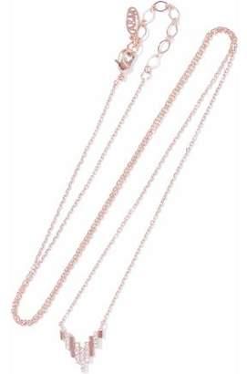 Astrid & Miyu Fitzgerald Pyramid 18-Karat Rose Gold-Plated Crystal Necklace