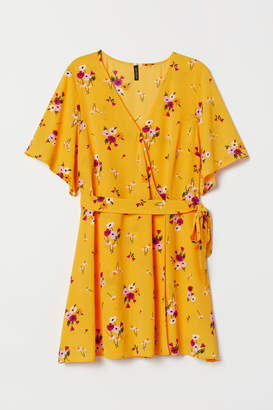 H&M H&M+ Creped Wrap-front Dress - Yellow