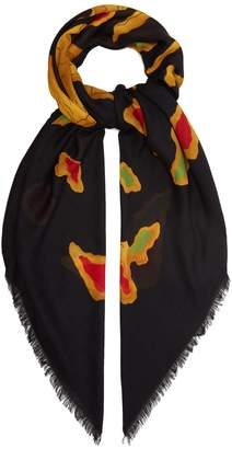 Valentino Dragon-print modal and cashmere-blend scarf