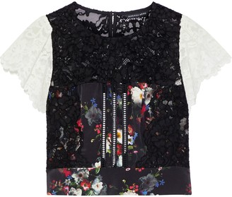 Marissa Webb Imani Open-back Two-tone Corded Lace And Floral-print Silk Top
