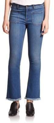 Stella McCartney Skinny Kick-Flare Frayed-Hem Jeans