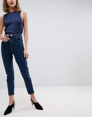 Asos DESIGN Farleigh high waist slim mom jeans in channan deep rich blue wash with seam detail pockets
