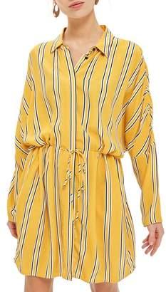 Topshop Drawstring Stripe Shirtdress