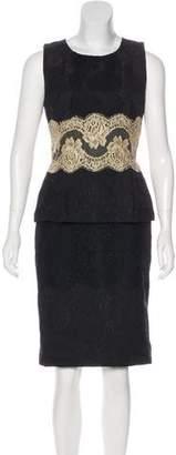 Dolce & Gabbana Jacquard & Lace Peplum Dress