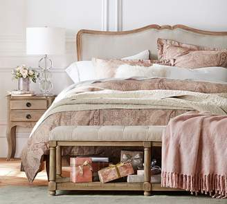 Pottery Barn Claremont Headboard with Metal Bed Frame