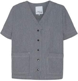 Mcverdi Short Sleeved Shirt In Blue Striped Denim