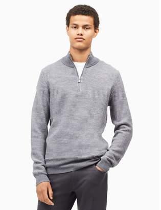 Calvin Klein merino wool blend textured zip sweater