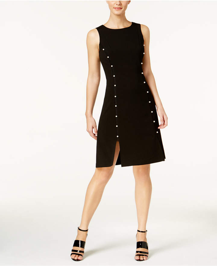 Calvin Klein Imitation Pearl A-Line Dress, Regular & Petite