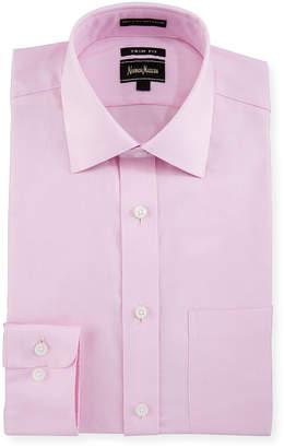 Neiman Marcus Trim-Fit Oxford Dress Shirt, Pink