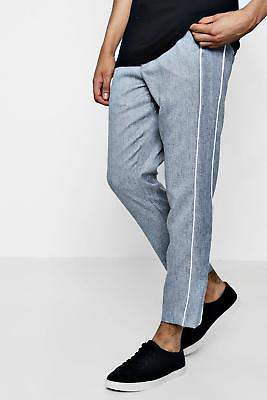 boohoo Mens Tapered Smart Trouser With Side Panel