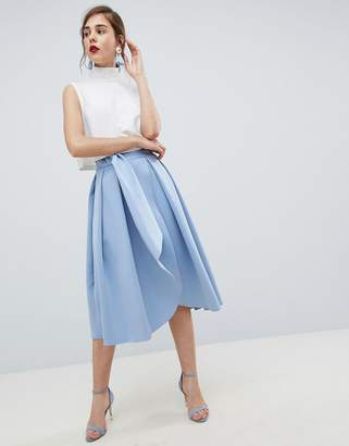 Asos DESIGN scuba wrap prom skirt with split and tie waist