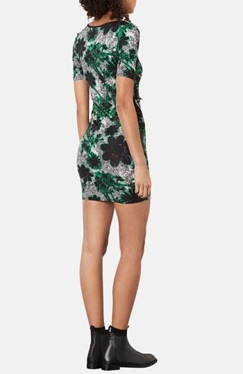 Topshop 'Tokyo Flower' Print Body-Con Dress