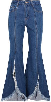 SJYP Steve J & Yoni P - Frayed Mid-rise Flared Jeans - Blue