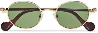 Moncler Round-Frame Gold-Tone and Tortoiseshell Acetate Sunglasses - Men - Gold