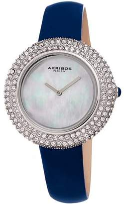 Akribos XXIV Silver Tone Dress Quartz Watch With Leather Strap [AK1049BU]