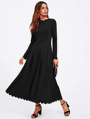 Shein Scallop Edge Boxed Pleated Fit & Flare Dress