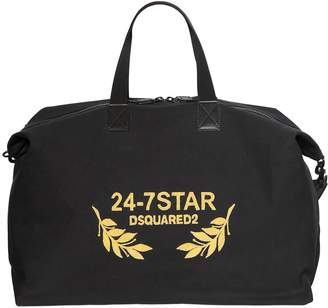 DSQUARED2 Logo Embroidered Canvas Duffle Bag