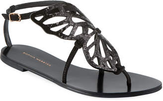 Sophia Webster Bibi Butterfly Flat Sandals, Black