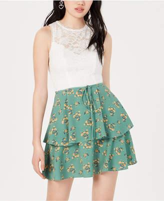 45d8682e38a Teeze Me Juniors  Lace Floral-Print Fit   Flare Dress