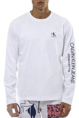 Calvin Klein Jeans White Cotton Round Neck Jersey