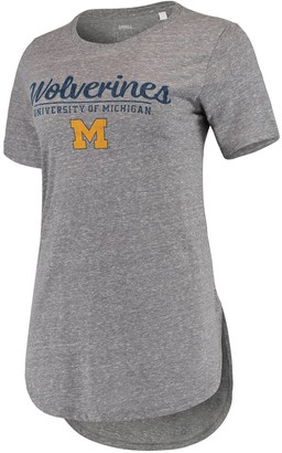 Unbranded Women's Pressbox Heathered Gray Michigan Wolverines Cherie Rounded-Bottom Tri-Blend T-Shirt