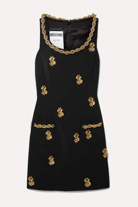 Moschino Embellished Crepe Mini Dress - Black