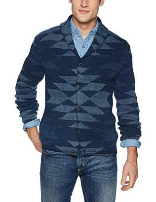 Lucky Brand Men's Printed Button Down Heritage Shawl Cardigan Sweater
