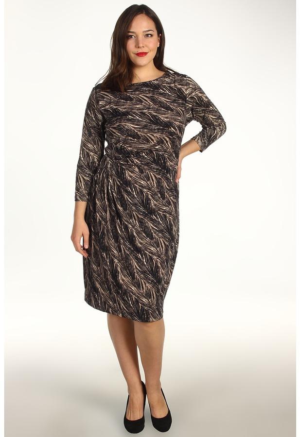 Klein Plus Anne Plus Size Feather Print 3/4 Sleeve Dress (Champagne) - Apparel