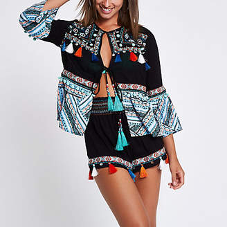 River Island Black embellished aztec beach caftan jacket