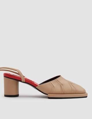 Reike Nen Mandoo Ankle Strap Mule in Beige/Red