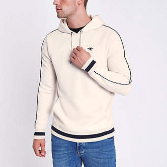 River Island Stone wasp embroidered slim fit tipped hoodie