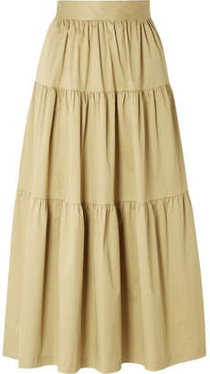 STAUD Sea Tiered Stretch-cotton Poplin Midi Skirt - Sand