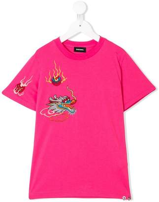 Diesel dragon embroidered T-shirt