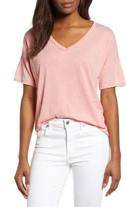 Lucky Brand Seam Detail Burnout V-Neck Tee