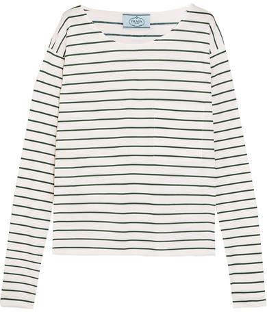 Prada - Striped Cotton-jersey Top - Cream