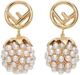 Fendi White and Gold Raspberries F is Earrings