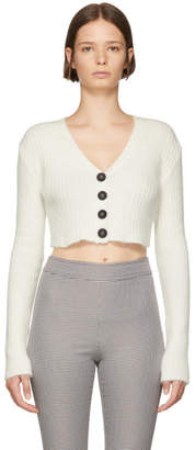 Opening Ceremony White Angora Cropped Rib Cardigan
