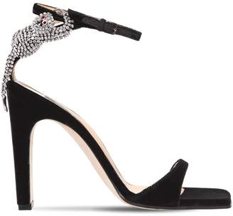 Sergio Rossi 105mm Crystal Monkey Velvet Sandals