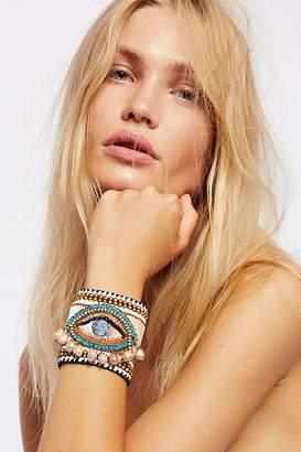 De Petra Cosmic Pearl Eye Leather Cuff