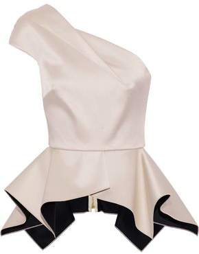Roland Mouret Rodwell One-Shoulder Satin Peplum Top