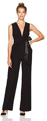Halston Women's Sleeveless V Neck Wide Leg Jumpsuit Wrap Tie