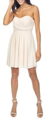 TFNC Elida Pleat Skirt Strapless Fit & Flare Dress