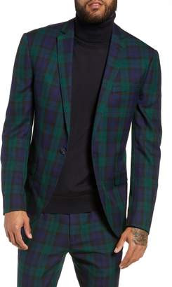 Topman Plaid Slim Fit Suit Jacket