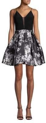 Blondie Nites Spaghetti-Strap Floral Fit-&-Flare Dress