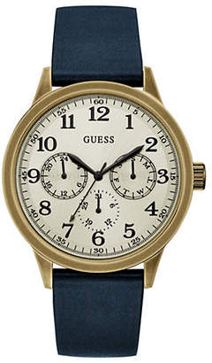GUESS Brasstone and Blue Genuine Leather Strap Watch