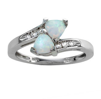 FINE JEWELRY Womens Genuine White Opal Sterling Silver Cocktail Ring