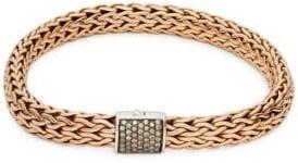 John Hardy Rose Goldtone Sterling Silver & Champagne Diamond Chain Bracelet